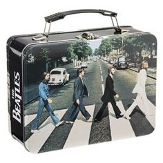 """The Beatles Abbey Road Large Tin Tote 72070 Tin tote measures 9 x x h Metal latch closure Collapsible plastic handle Great for toting and storing or as a lunch box Colorful image of """"The Fab Four"""" Abbey Road, Beatles Gifts, Beatles Party, Tin Lunch Boxes, Metal Lunch Box, Batman Collectibles, Thing 1, Gift For Music Lover, The Empire Strikes Back"""