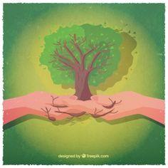 Mãos com uma árvore