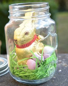 10 easter mason jar ideas edible grass easter bunny and easter personalised chocolate bunny in a mason jar negle Image collections