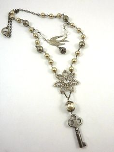 Repurposed Vintage Assemblage Necklace by ATwistOfWhimsy on Etsy, 78.00