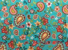 TURQUOISE ORANGE PAISLEY Garden multicolor flower green blue red floral Headband. $8.99, via Etsy.