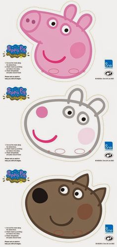 Peppa Pig Party Masks (make? Use popsickle sticks on bottom for them to hold in front of their faces) Party Printables, Peppa Pig Printables, Free Printable Party, Free Printables, Peppa E George, George Pig Party, George Pig Cake, 3rd Birthday Parties, Girl Birthday