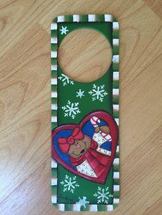 Picaporte Navidad Christmas Gengibre Decoupage Art, Pintura Country, Christmas Signs, Door Hangers, Scrapbooking, Holidays, Patterns, Painting, Craft
