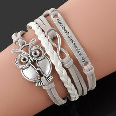 d4169b70f0b Fashion Jewelry high quality Handmade Women Barcelet Owl Metal Plate  decorations Charms White Braided Wristband Love Bracelets-in Chain & Link  Bracelets ...