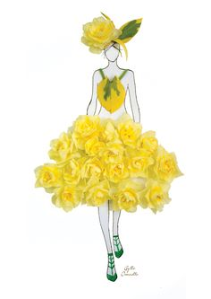 """made of real flower"" Fashion Illustrations With Real Flower Petals As Clothing"
