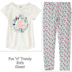 NWT Crazy 8 Girls Size Medium 7-8 Day Dream Tee Shirt Top & Leggings 2-PC…
