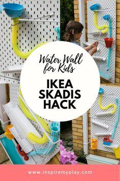 Water Wall for Kids – Ikea Skadis Hack – Inspire my Play – Kids Rugs Playroom Kids Play Spaces, Outdoor Play Spaces, Kids Outdoor Play, Kids Play Area, Backyard For Kids, Ikea Outdoor, Eyfs Outdoor Area, Water Table Diy, Ikea Skadis