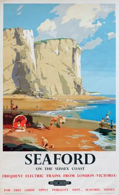 Vintage Railway Travel Poster - Seaford Sussex- UK - by Frank Sherwin- 1955.