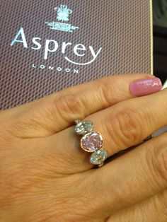 Love this combination of #pinkdiamonds & #whitediamonds spotted at @asprey #engagementring #bridal See more at www.thejewelleryeditor.com