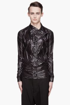 RICK OWENS Blach high-gloss Megacowl Shirt
