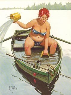 Hilda bailing out the boat