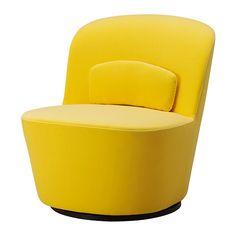 IKEA - STOCKHOLM, Draaifauteuil, Sandbacka geel, , Deze fauteuil is gemaakt van vormgeperst koudschuim dat comfortabel is, steun geeft en z'n vorm jarenlang behoudt.Fluweel is een zachte, luxe stof die bestand is tegen wrijving en die met een stofzuigermondstuk met een zacht borsteltje eenvoudig schoon te houden is.