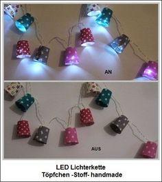 Lichterkette Hütchen Sterne Stoff   LED -Batterie von ღKreawusel-Designღ auf DaWanda.com