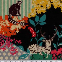 Ring-tailed lemurs, cheetahs, owls, and deer are printed on a lush background of foliage, stripes, and dot. This medium-weight Japanese fabric is 45% cotton and 55% linen and is 43/44