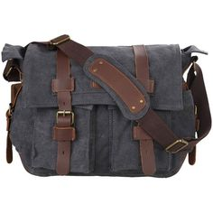 Amazon.com: Kattee Classic Military Canvas Shoulder Messenger Bag... ($44) ❤ liked on Polyvore featuring bags and messenger bags