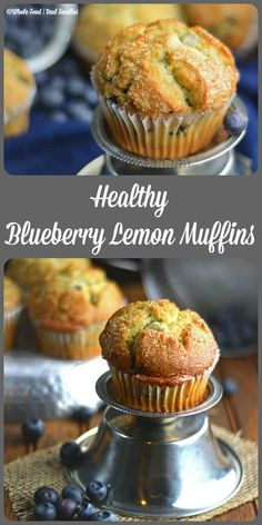 Low Unwanted Fat Cooking For Weightloss Healthy Blueberry Lemon Muffins - Whole Food Real Families. These Whole Wheat Muffins Are Great Right Out Of The Oven But They Also Freeze Great For An Easy Breakfast During The Week. Get The Recipe At Healthy Muffin Recipes, Healthy Muffins, Healthy Baking, Healthy Treats, Healthy Desserts, Gourmet Recipes, Whole Food Recipes, Dessert Recipes, Breakfast Healthy