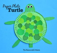 This paper plate turtle is an easy craft project for your kids.  Paint a paper plate green, glue green dots on the plate, and the printable legs, head and tail,  Add google eyes and you are done.