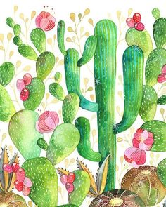 Beautiful cactus watercolour by Ana Victoria