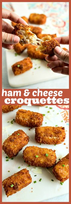 Ham & Cheese Croquettes – Dumplings filled with rich prosciutto ham and manchego cheese are rolled in breadcrumbs and fried to perfection to make for one of the best appetizers you'll ever have #recipe #appetizer #partyfood #ham #cheese #tapas