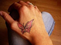 Pink Butterfly Hand Tattoos for Women
