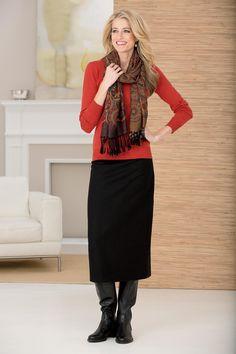 Scoopneck Sweater & Column Skirt | Chadwicks of Boston