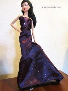 Instructions for how to sew this beautiful evening dress with a train for barbie doll