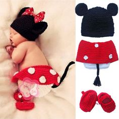 red minnie mouse polka dot material | 3pcs Baby Girls Minnie Mouse Polka Dot Handmade Crochet Knit Costume 0 ...