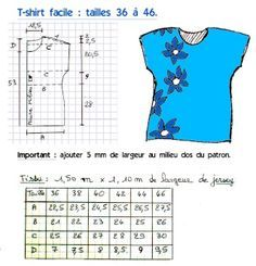 Patron: T-shirt facile (tailles 36 à 46 - French Shirt - Ideas of French Shirt - labobine.over-blo tutorial for simple t-shirt Dress Sewing Patterns, Blouse Patterns, Clothing Patterns, Fabric Sewing, Sewing Blouses, Sewing Shirts, Women's Blouses, Shirt Dress Tutorials, Patron T Shirt
