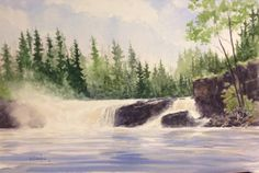 Middle Falls, Ontario. 12in X 18in watercolour painting by Ken Crawford