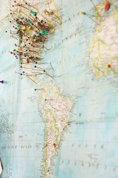 I love these pinned maps designating where someone has traveled.