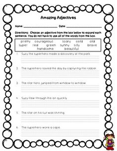 Free! Amazing Adjectives practice