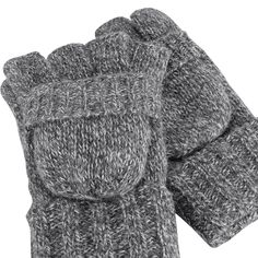 Ladies Thick Winter Soft Chunky Knit Thermal Stripe Mittens