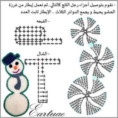 Photo from eartuae Applique Patterns, Crochet Patterns, Crochet Snowman, Crochet Embellishments, Holiday Crochet, Christmas Decorations, Christmas Ornaments, Knitted Shawls, Crochet Toys