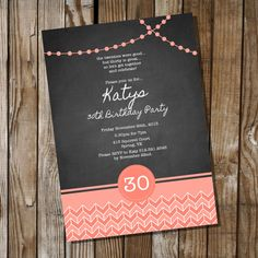 Chalkboard Birthday Invitation with Coral  16th by SunshineParties, $5.00