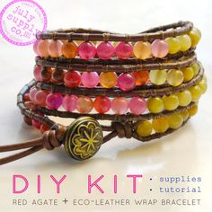 leather wrap bracelet diy kit: agate gemstones reds pink citron yellow leather bracelet supplies & tutorial