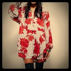 "NWT - $128 Free People Shake It Dress Shirt New from Free People:!//3Shake It' Printed Long Sleeve Shirt/Dress in ""Sand Combo"". Flouncy babydoll-style mini dress with allover floral print. Button placket & wide sleeves with banded cuff. Slanted hip pockets; back drawstring & tie for perfect fit.  * New w/tags & Flawless condition! * Measurements for xSmall (1/2 - full size larger - though it is intended to be loose-fitting. Bust: 35"" 