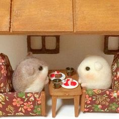 Cute Needle felted project wool animals mice (Via @hapipupetto)