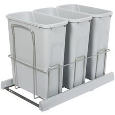 Knape & Vogt - Triple 20 Quart Bin Platinum Soft-Close Waste and Recycling Unit - Lid is not Included - BSC15-3-20PT - Home Depot Canada