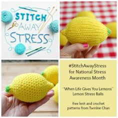 Stitch Away Stress ... Free Knit and Crochet Lemon Patterns #crochet #knit #knitting