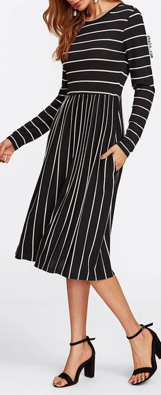 Mixed Striped Tee Dress