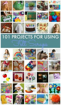 101 project ideas for using felt scraps. A selection of ideas for felt boards and projects for younger kids, tweens, teens and adults including simple sewing. Felt is such a flexible craft material.