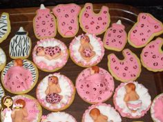 animal print baby girl cookies