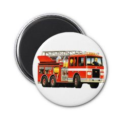 Firetruck Magnet great firetruck party favors for a fire truck themed party from Paul Stickland's TruckStore! #truckparty #firengine #firetruckparty #truckstore #firetrucks #firetruck #firemen #kids
