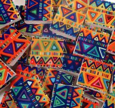 Ceramic Mosaic Tiles - Boho Tribal Triangles Stripes Bright Colors Lime Green #WhereGypsiesRoam