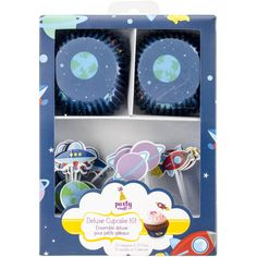 Multicraft Imports Party Craft Deluxe Cupcake Box, Outer Space, Set of 24