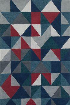 Henrik Wollteppich in Grau, Rot und Blau. Ist das schon Kunst oder noch Teppich? Keine Sorge: Auch wenn Henrik zum Drüberlaufen eigentlich viel zu kostbar scheint, genau dafür ist dieser kunstvolle Teppich gemacht!