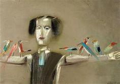 "Scarecrow and Birds - Jean David Illustration for Sașa Pană's ""the romanticised life of god"" (1932)"