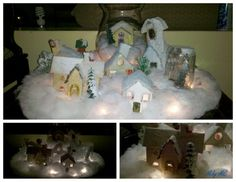 Christmas village!! cardboard, cotton and a little bit of imagination!