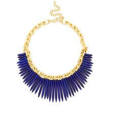 Kenneth Jay Lane Women's Turquoise Spike Collar Necklace - Blue ($59) ❤ liked on Polyvore featuring jewelry, necklaces, blue, kenneth jay lane, long necklaces, kenneth jay lane necklace, blue necklace and blue jewelry