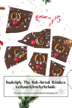 Gift Idea: DIY Rudolph The Red-Nosed Reindeer Christmas .- Nice gift idea for Christmas: Homemade Rudolph The Red-Nosed Reindeer Christmas Chocolate / DIY Christmas Chocolate / Gifts from the Kitchen / Christmas - Diy Christmas Gifts For Boyfriend, Diy Gifts For Girlfriend, Diy Gifts For Dad, Diy Gifts For Friends, Best Christmas Gifts, Reindeer Christmas, Chocolate Diy, Christmas Chocolate, Christmas Sweets